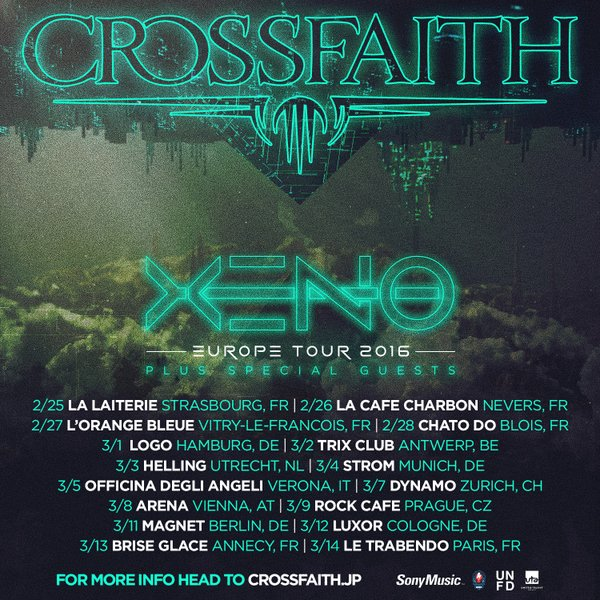 crossfaith xeno europe tour 2016